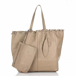 Кожаная сумка на каждый день Genuine Leather 8250 цвета тауп на кулиске со съемным кошельком