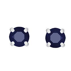 Серебряные серьги-пуссеты Пава с синтезированными сапфирами