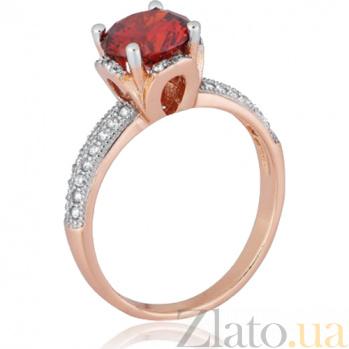 Серебряное кольцо с красным фианитом Эмилия 000028208