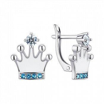 Серебряные серьги с эмалью и фианитами 000148715