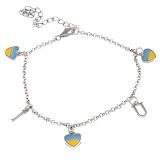 Серебряный браслет с разноцветной эмалью Люблю Украину