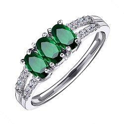 Серебряное кольцо с изумрудами и фианитами 000125596