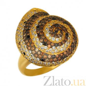 Кольцо из желтого золота Ракушка с фианитами VLT--ТТ1012-1