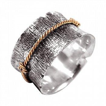 Серебряное черненое кольцо-антистресс Abbot с подвижной золотой накладкой 000091347
