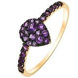 Кольцо из желтого золота с аметистами Violet passion