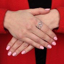 Серебряное кольцо Лепестки с белыми фианитами