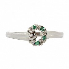 Серебряное кольцо с бриллиантами и изумрудами Лебария
