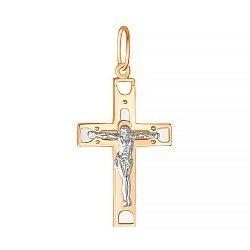 Крестик из серебра Вечная жизнь с позолотой 000025212