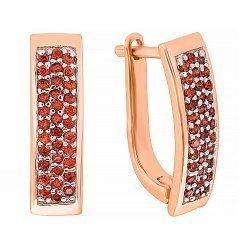 Позолоченные серебряные серьги с красными фианитами 000029021
