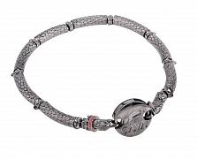 Серебряный тонированный браслет Зоркий орел с фианитами
