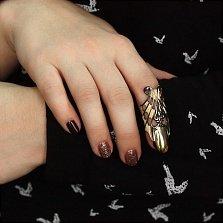 Дизайнерское серебряное кольцо-ноготь Темная бабочка с позолотой и чернением