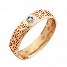 Золотое обручальное кольцо Звезда Алатырь в комбинированном цвете с бриллиантом