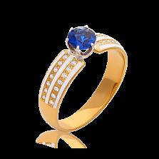Золотое кольцо с бриллиантами и сапфиром Delight