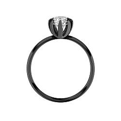 Золотое помолвочное кольцо Изящество, полностью покрытое черным родием, с бриллиантом 1ct 000060649