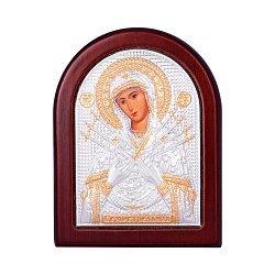 Икона Божия Матерь Семистрельная с серебрением и позолотой на деревянной основе 000131701