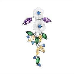 Серебряный кулон Изящные цветы с перламутром и разноцветными фианитами