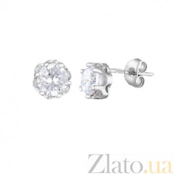 Серебряные cерьги-гвоздики с цирконием Марго SLX--СК2Ф/414