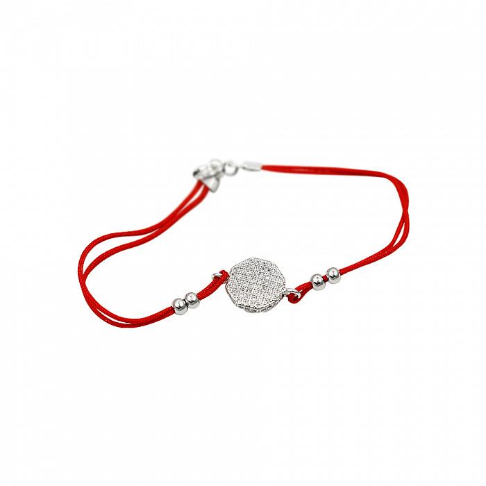 Браслет из серебра и красной нити Беренис с фианитами 000081502