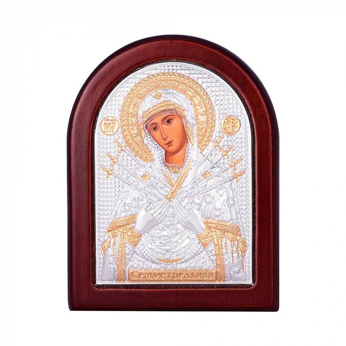 Икона Божия Матерь Семистрельная с серебрением и позолотой на деревянной основе 000131701 000131701