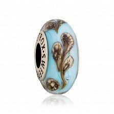 Серебряный шарм Морские цветы с муранским стеклом