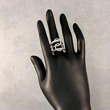Серебряное кольцо Триада с фантазийной шинкой и белыми фианитами