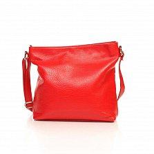 Кожаная сумка на каждый день Genuine Leather 8987 красного цвета с регулируемой ручкой