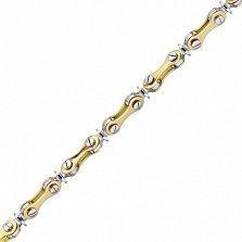 Золотая цепь Иоланта в комбинированном цвете с бриллиантом