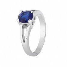 Серебряное кольцо Мелита с сапфировым фианитом