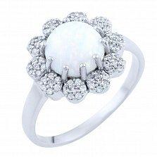 Серебряное кольцо Памела с белым опалом и фианитами