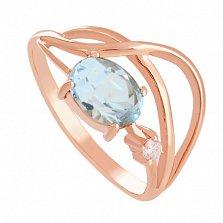 Золотое кольцо с топазом и фианитом Бесконечная история