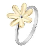 Кольцо в желтом и белом золоте Ромашка