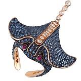 Золотое кольцо с фианитами Скат