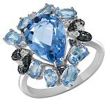 Кольцо из белого золота Офелия с топазами и бриллиантами