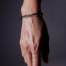 Кожаный браслет с серебром Hand of Fatima Black с чернением