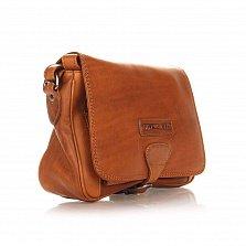 Кожаная мужская сумка HILL BURRY 4003 коричневого цвета с клапаном и карманом на молнии