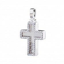 Крестик из белого золота Кассандра с фианитами