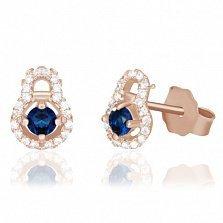 Серебряные сережки-пуссеты с синими фианитами и позолотой Карли