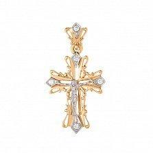Золотой ажурный крест Символ веры в комбинированном цвете с фианитами