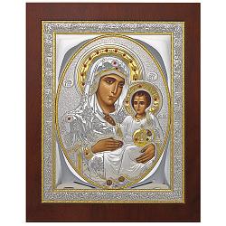 Серебряная икона Божьей Матери Иерусалимской с позолотой и фианитами микс, 21х17см 000005351