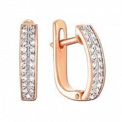 Золотые серьги в комбинирванном цвете с бриллиантами 000117279