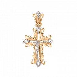 Золотой ажурный крест Символ веры в комбинированном цвете с фианитами 000071571
