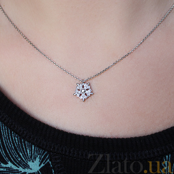 Серебряный кулон Снежинка с цирконием ZMX--PCz-00205-Ag_K