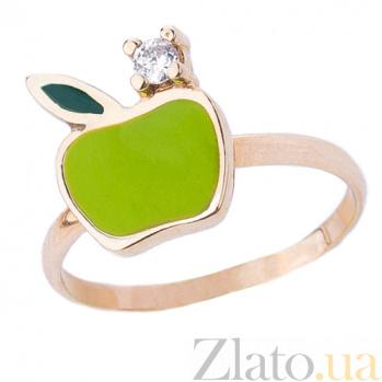 Золотое кольцо с цветной эмалью и фианитом Яблочко ONX--к02774