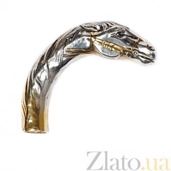 Серебряная ручка для трости Лошадь с позолотой 1185