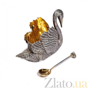 Паштетница Царский лебедь с серебряной ложкой 1166