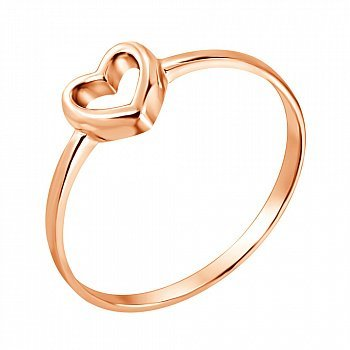 Золота каблучка I love you з шинкою у формі серця 000036379