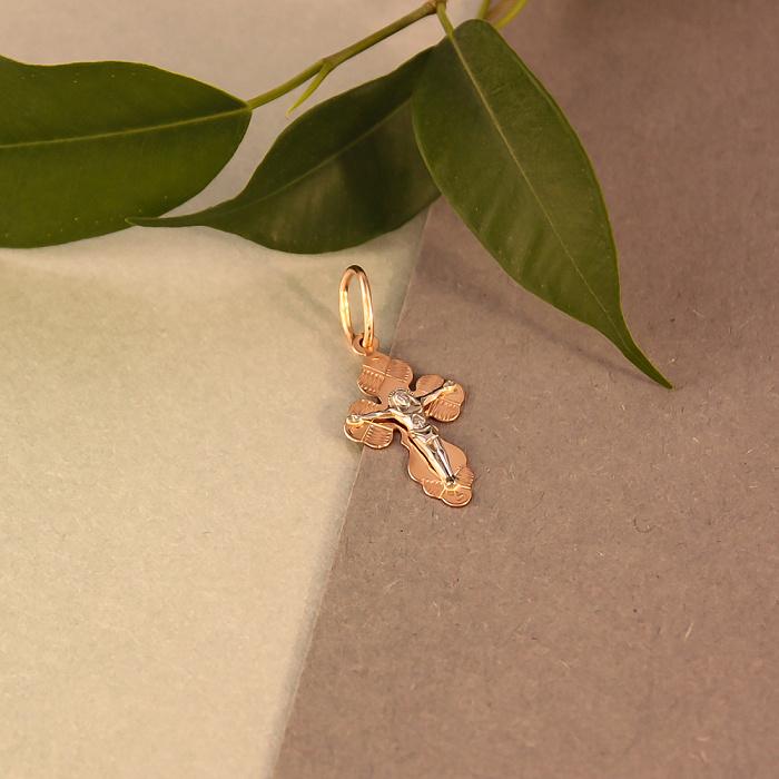 Золотой крестик Сокровище души в комбинированном цвете с насечками 000046405 000046405