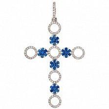 Золотой декоративный крест Джинна с сапфирами и бриллиантами