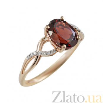 Золотое кольцо с гранатом и бриллиантами Роксэт 000026919