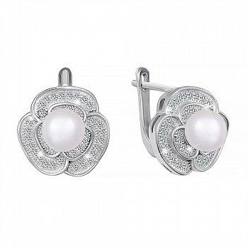 Серебряные серьги с жемчугом и фианитами 000047462